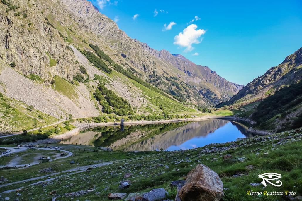 Entracque lago della Rovina ripreso da fondo valle