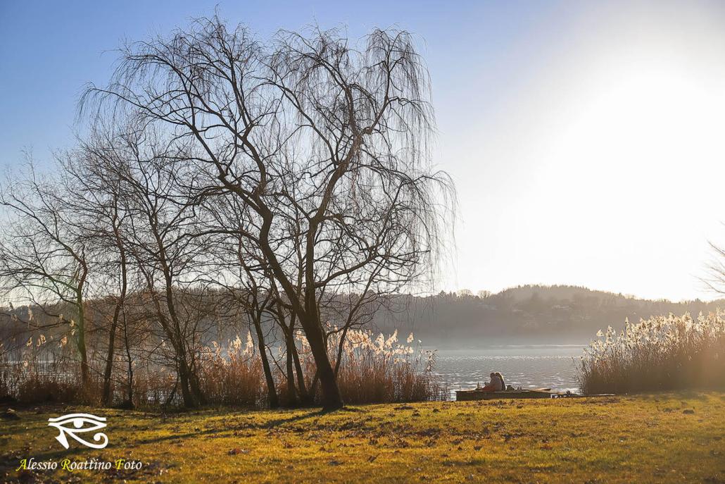 una coppia di persone sedute sul pontile vicino ad un albero sulle sponde del lago di Varese
